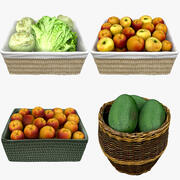 Wicker Basket Fruits Collection 01 3d model