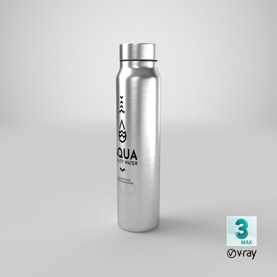 Aluminium Water Bottle royalty-free 3d model - Preview no. 27
