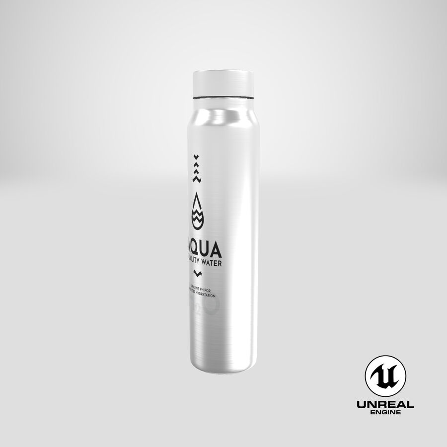 Aluminium Water Bottle royalty-free 3d model - Preview no. 24