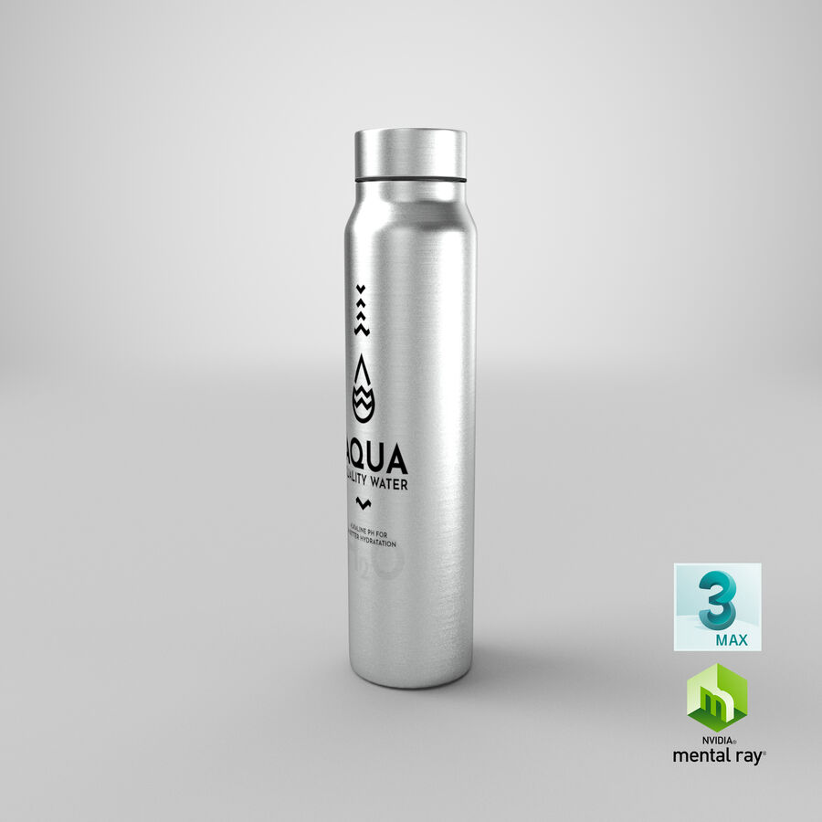 Aluminium Water Bottle royalty-free 3d model - Preview no. 26