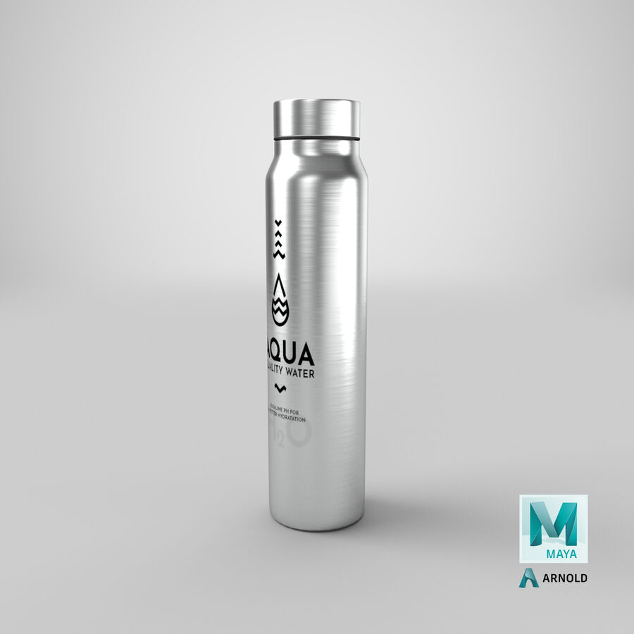 Aluminium Water Bottle royalty-free 3d model - Preview no. 28