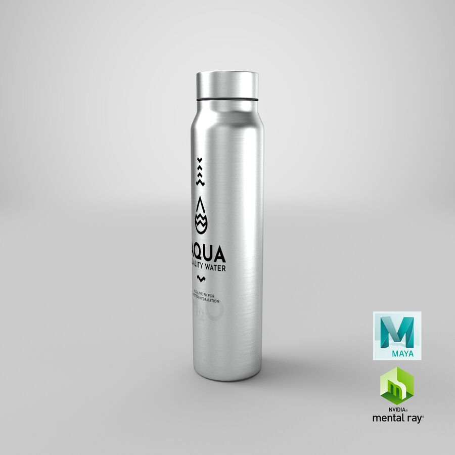 Aluminium Water Bottle royalty-free 3d model - Preview no. 29