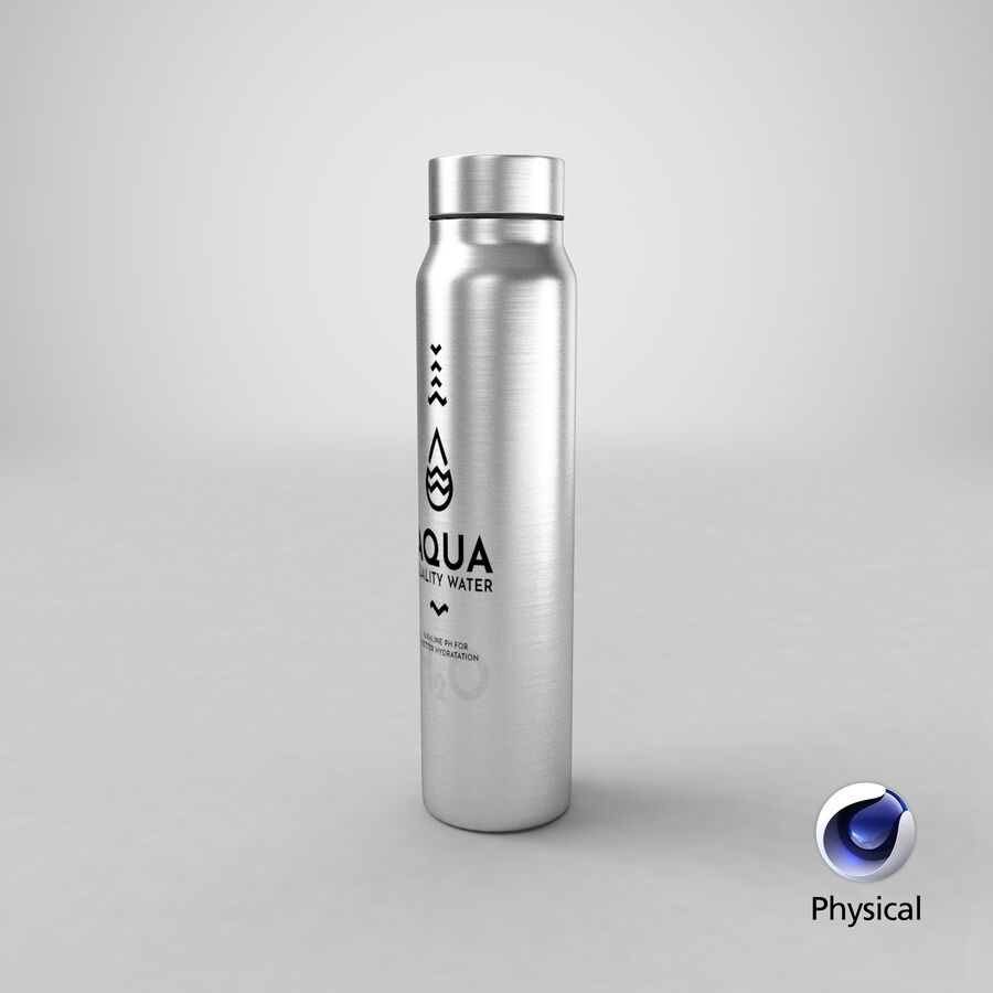 Aluminium Water Bottle royalty-free 3d model - Preview no. 21