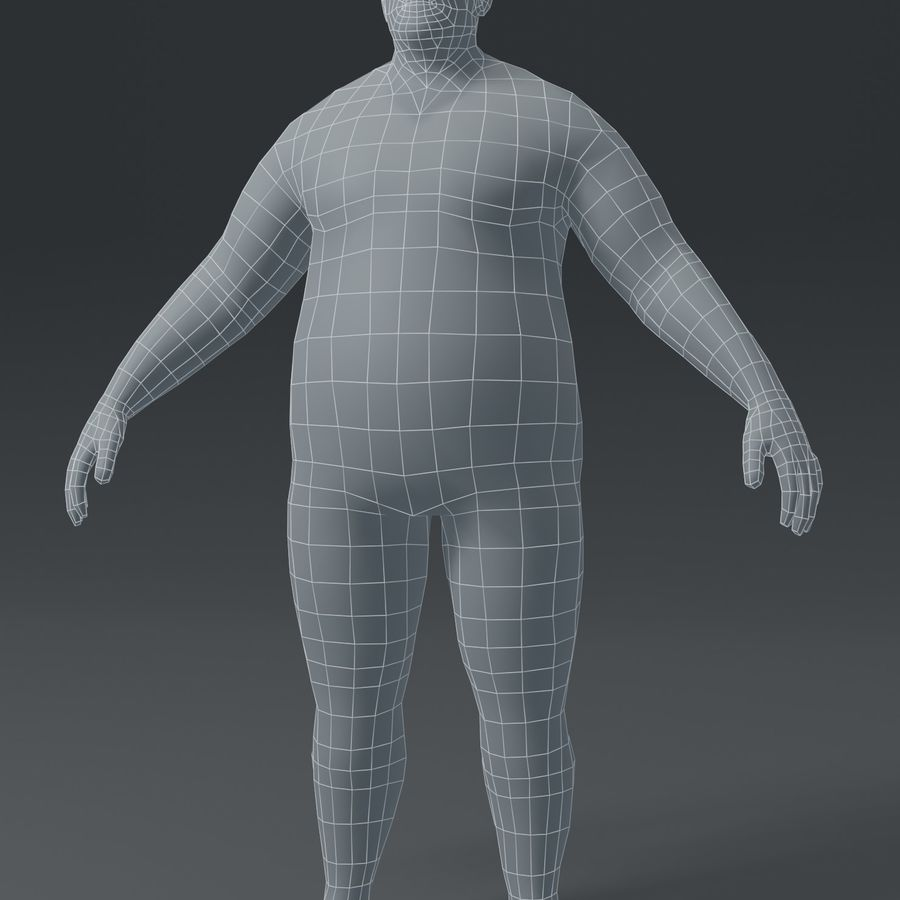 Male Body Fat Base Mesh 3D Model royalty-free 3d model - Preview no. 2
