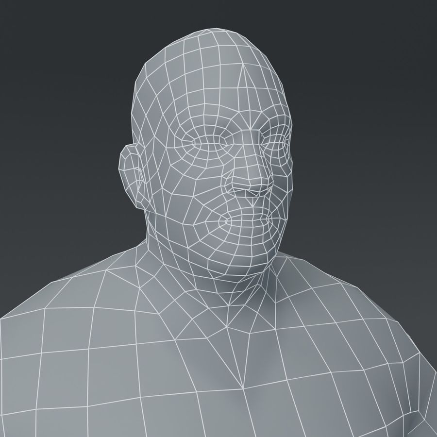 Male Body Fat Base Mesh 3D Model royalty-free 3d model - Preview no. 6
