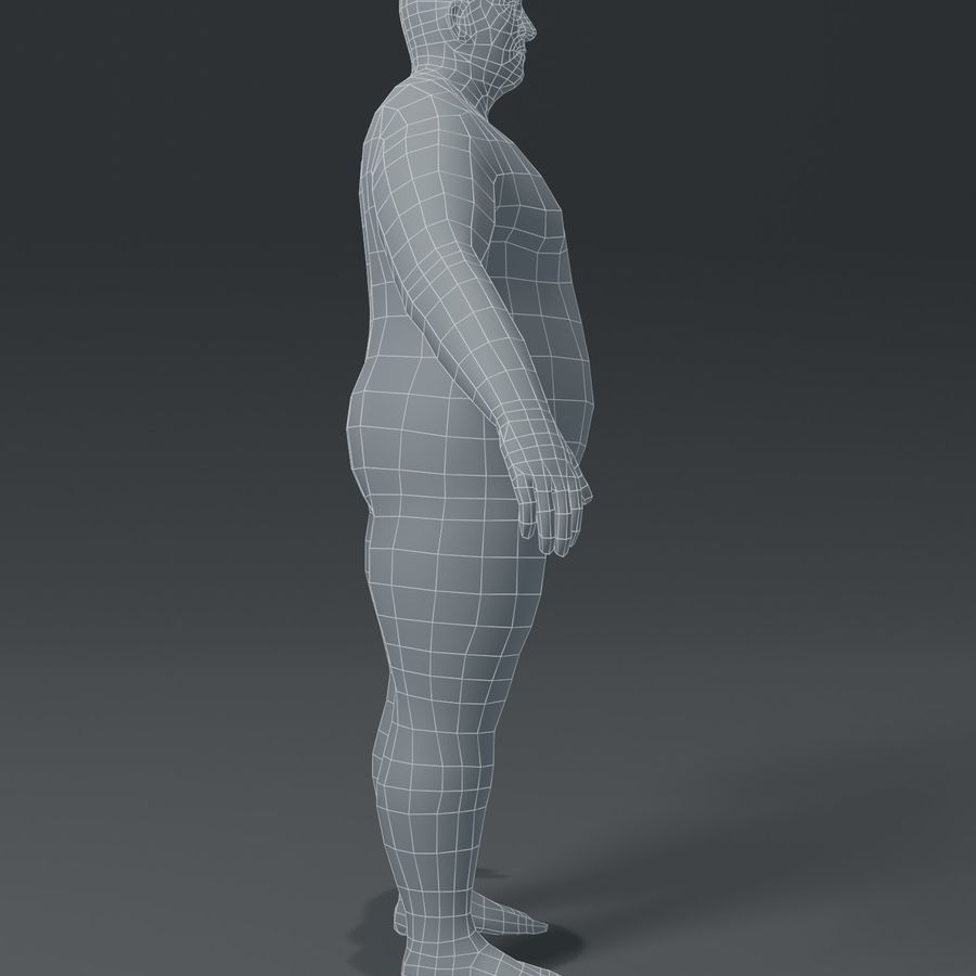 Male Body Fat Base Mesh 3D Model royalty-free 3d model - Preview no. 13