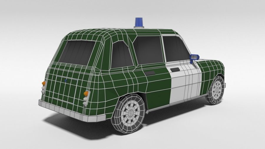 Low Poly Cartoon Retro Polizeiauto royalty-free 3d model - Preview no. 14