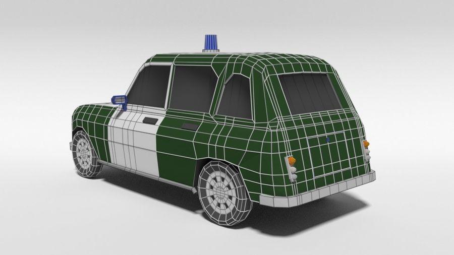 Low Poly Cartoon Retro Polizeiauto royalty-free 3d model - Preview no. 12