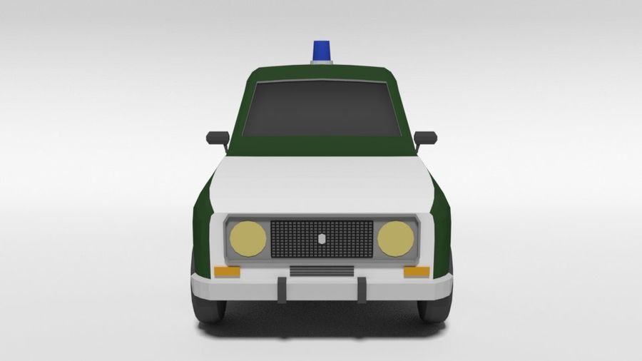 Low Poly Cartoon Retro Polizeiauto royalty-free 3d model - Preview no. 8