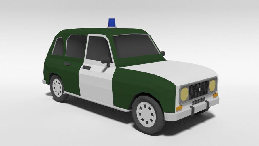 Low Poly Cartoon Retro Polizeiauto royalty-free 3d model - Preview no. 7