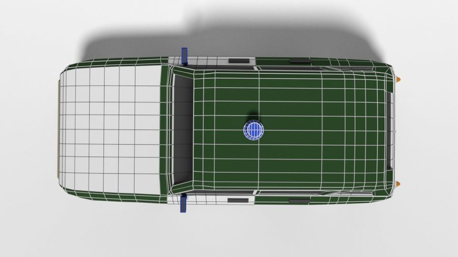 Low Poly Cartoon Retro Polizeiauto royalty-free 3d model - Preview no. 18