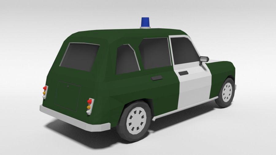 Low Poly Cartoon Retro Polizeiauto royalty-free 3d model - Preview no. 5