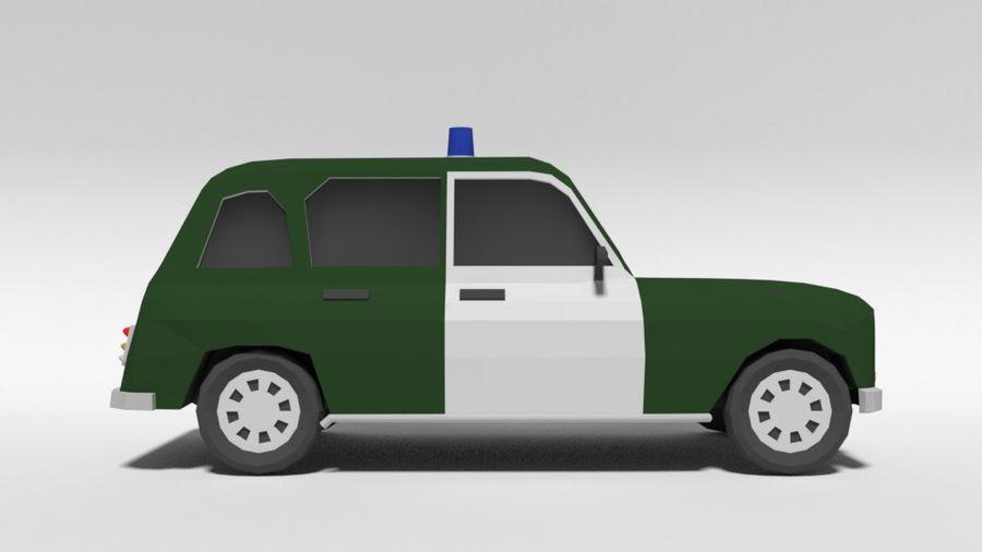 Low Poly Cartoon Retro Polizeiauto royalty-free 3d model - Preview no. 6