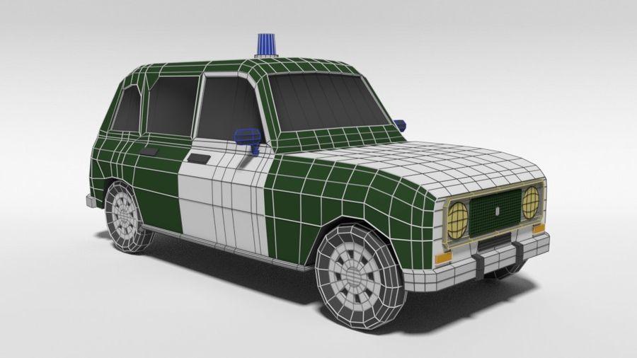 Low Poly Cartoon Retro Polizeiauto royalty-free 3d model - Preview no. 16
