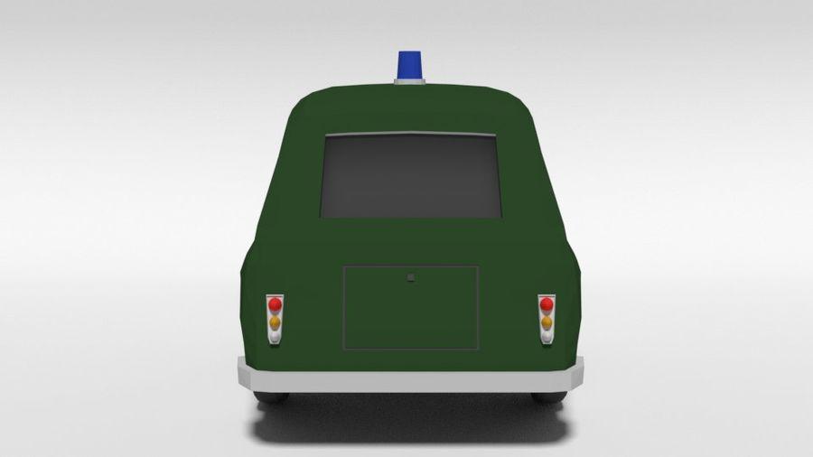 Low Poly Cartoon Retro Polizeiauto royalty-free 3d model - Preview no. 4