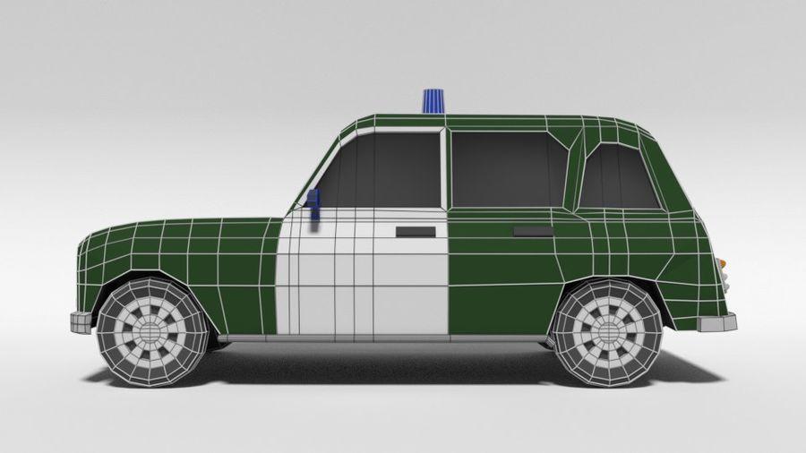Low Poly Cartoon Retro Polizeiauto royalty-free 3d model - Preview no. 11
