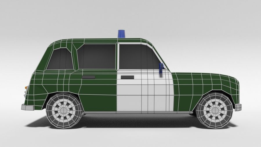 Low Poly Cartoon Retro Polizeiauto royalty-free 3d model - Preview no. 15