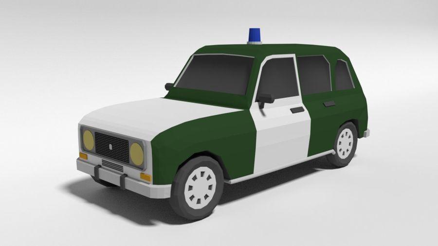 Low Poly Cartoon Retro Polizeiauto royalty-free 3d model - Preview no. 1