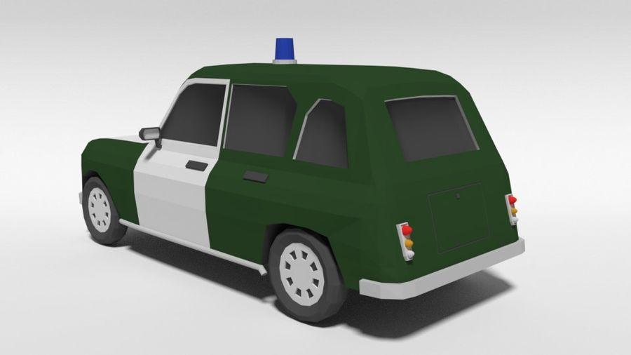 Low Poly Cartoon Retro Polizeiauto royalty-free 3d model - Preview no. 3