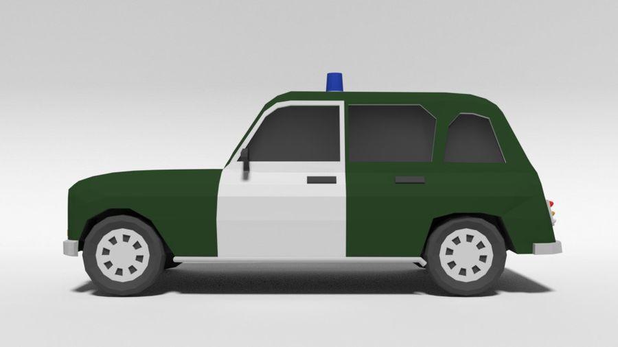 Low Poly Cartoon Retro Polizeiauto royalty-free 3d model - Preview no. 2