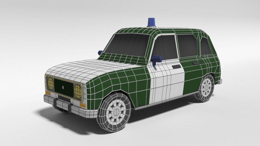 Low Poly Cartoon Retro Polizeiauto royalty-free 3d model - Preview no. 10