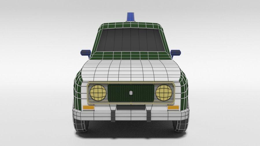 Low Poly Cartoon Retro Polizeiauto royalty-free 3d model - Preview no. 17