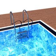 带梯子和木地板的游泳池 3d model