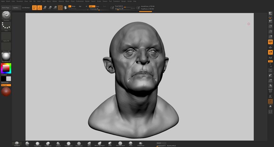 Fantasy Creature Head v5 royalty-free 3d model - Preview no. 9