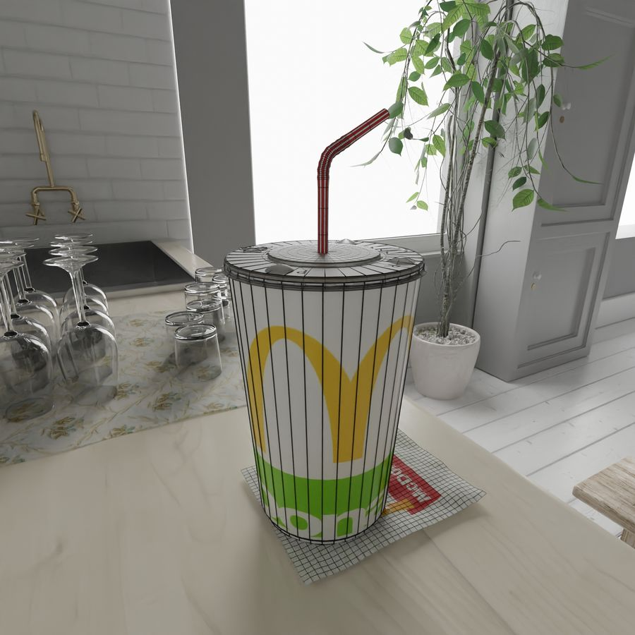 McDonalds Cup royalty-free 3d model - Preview no. 10