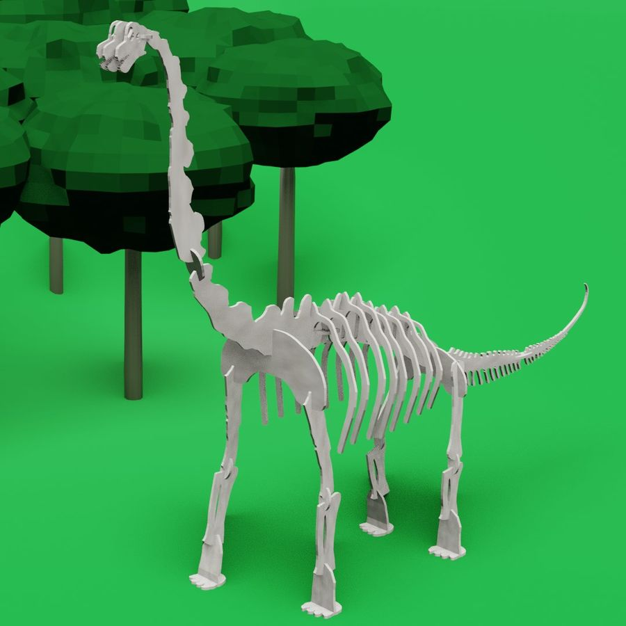 Brachiosaurus Puzzle royalty-free 3d model - Preview no. 1
