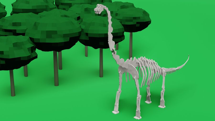 Brachiosaurus Puzzle royalty-free 3d model - Preview no. 5