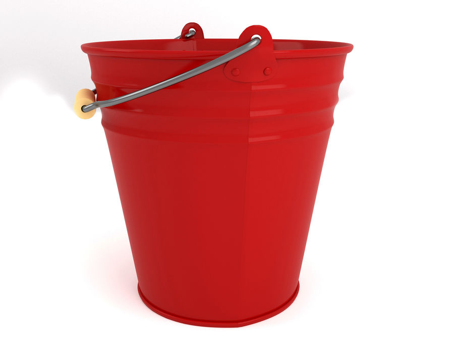 Red bucket(1) royalty-free 3d model - Preview no. 2