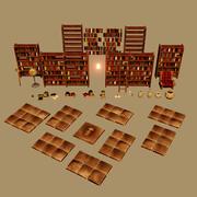 Ręcznie malowany pakiet biblioteczny 3d model