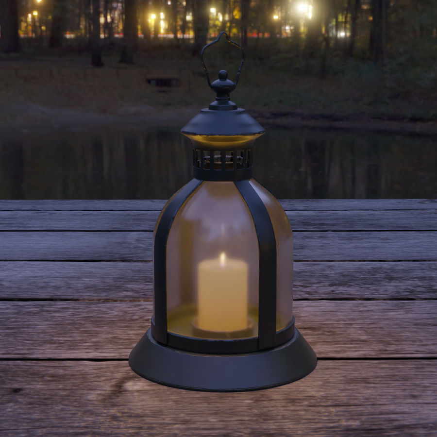 Lantern With Candle royalty-free 3d model - Preview no. 6