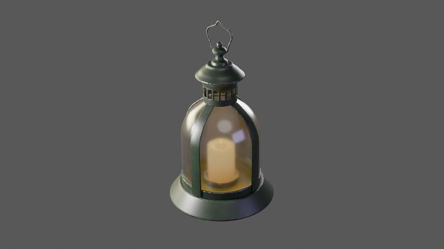 Lantern With Candle royalty-free 3d model - Preview no. 2