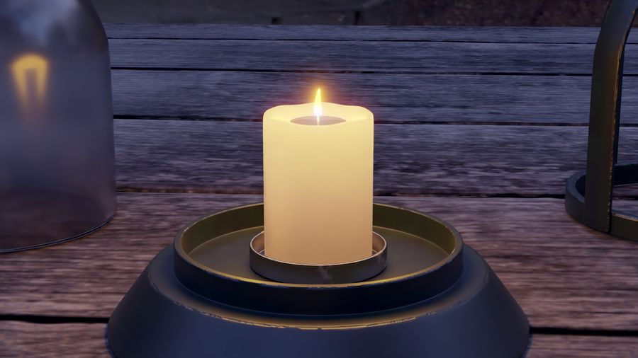 Lantern With Candle royalty-free 3d model - Preview no. 11