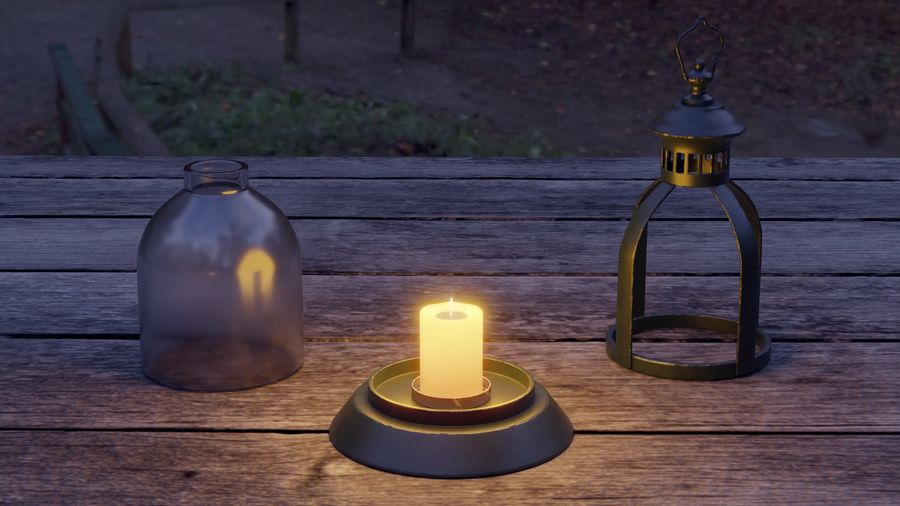 Lantern With Candle royalty-free 3d model - Preview no. 10