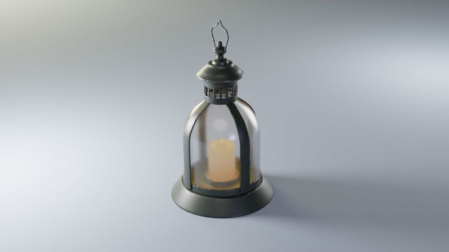 Lantern With Candle royalty-free 3d model - Preview no. 3