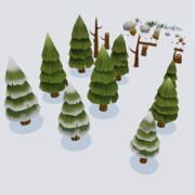 Pack forêt de pins 3d model