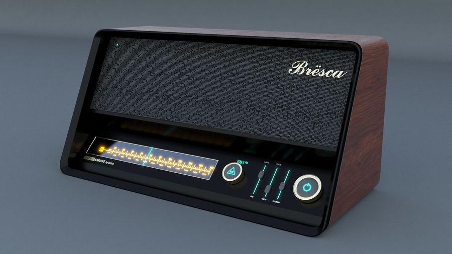 Vintage Modern Speaker Radio Low-poly 3D model royalty-free 3d model - Preview no. 4