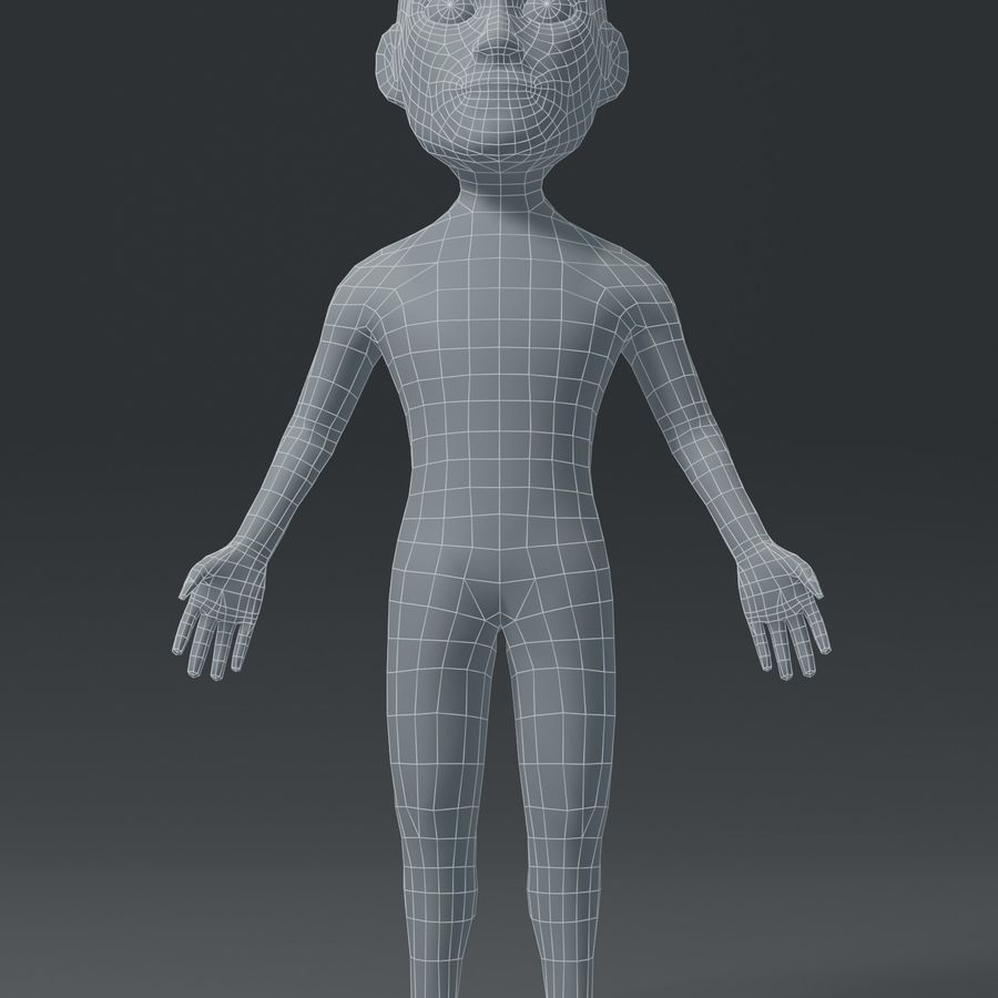 Male Body Cartoon Base Mesh 3D Model royalty-free 3d model - Preview no. 7