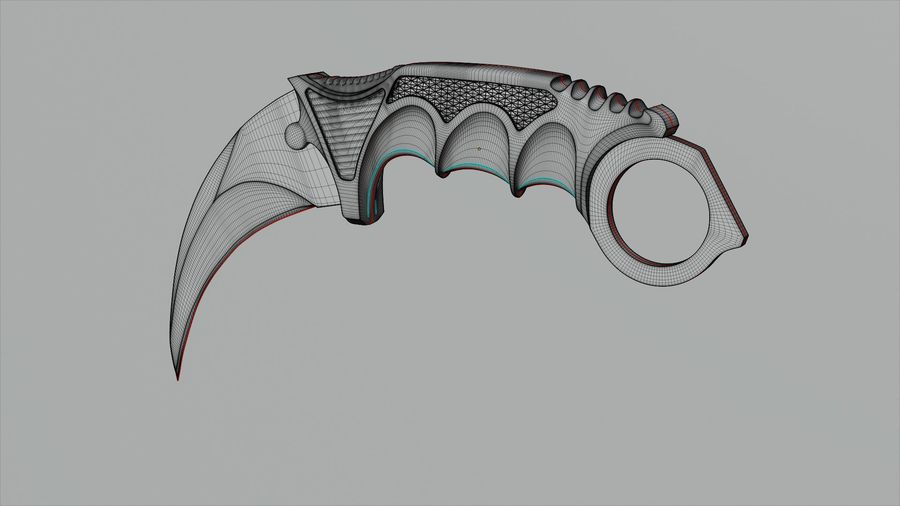 karambit knife - PBR royalty-free 3d model - Preview no. 5