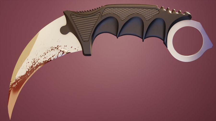 karambit knife - PBR royalty-free 3d model - Preview no. 2