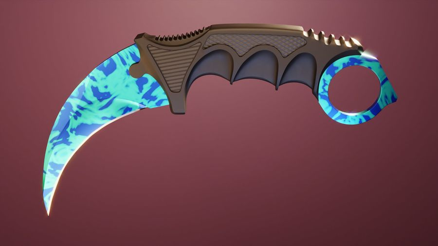 karambit knife - PBR royalty-free 3d model - Preview no. 12