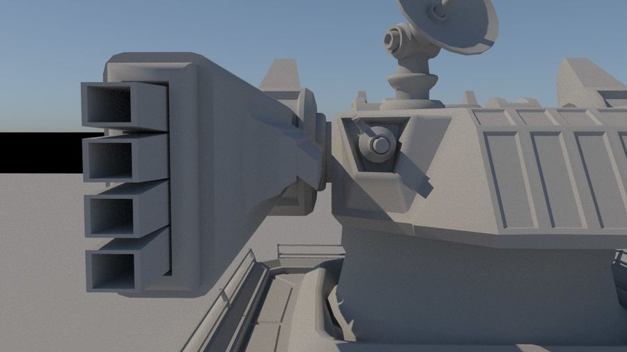 Low Poly Sci-Fi Ground Heavy Laser Turret royalty-free 3d model - Preview no. 16