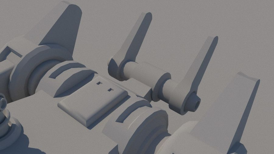 Low Poly Sci-Fi Ground Heavy Laser Turret royalty-free 3d model - Preview no. 11
