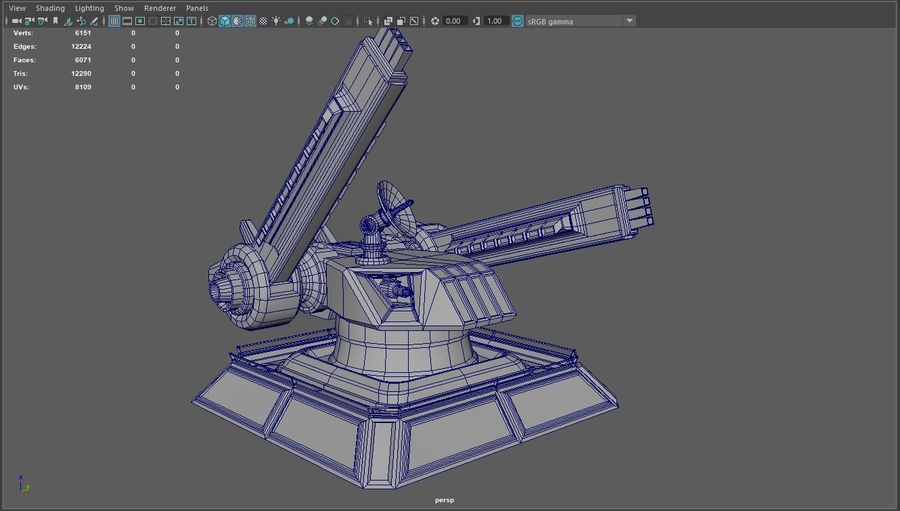 Low Poly Sci-Fi Ground Heavy Laser Turret royalty-free 3d model - Preview no. 27