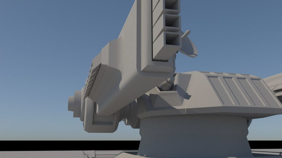 Low Poly Sci-Fi Ground Heavy Laser Turret royalty-free 3d model - Preview no. 17