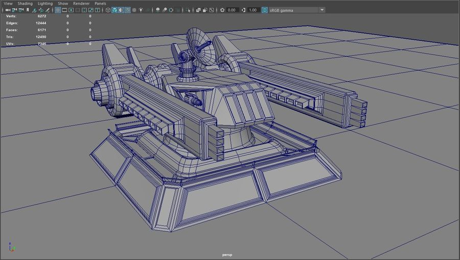 Low Poly Sci-Fi Ground Heavy Laser Turret royalty-free 3d model - Preview no. 22