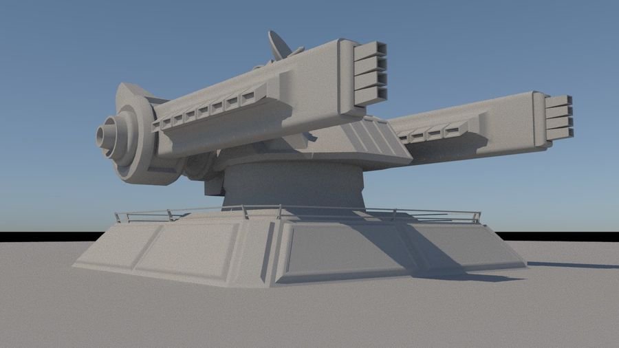 Low Poly Sci-Fi Ground Heavy Laser Turret royalty-free 3d model - Preview no. 7
